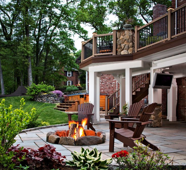 Decorating, Great Outdoor Patio Ideas With Fire Pit Area And Wood Deck  Railing Also Using