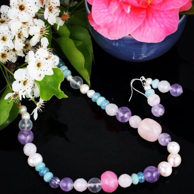 Moko Jewellery handmade necklace. Spring/summer 15 Freshwater pearls, amethyst, rose quartz. Australian Design www.moko.co