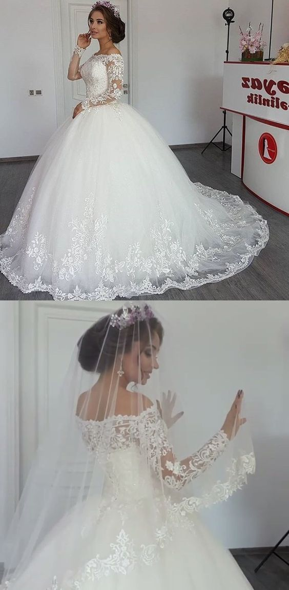 Vintage Long Sleeves Lace Wedding Ball Gown Dresse…