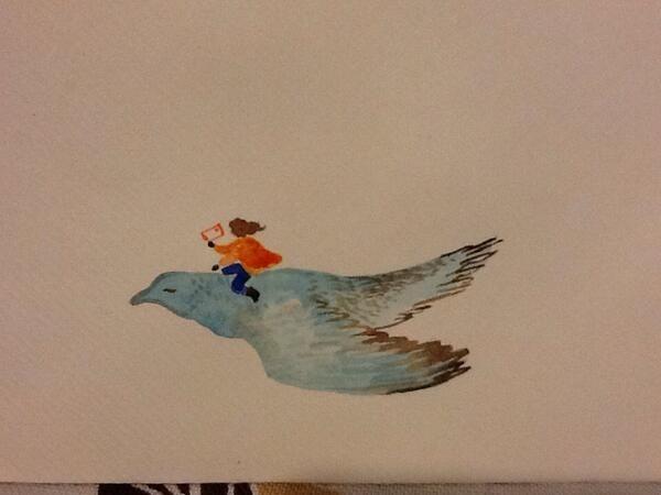 Letter writing snapshot: decorating a plain envelope Watercolour by Ashya Lane-Spollen