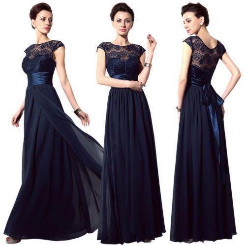 Lang-Damen-Spitze-Abendkleider-Ballkleider-Chiffon-Hochzeit-Brautjungfernkleider