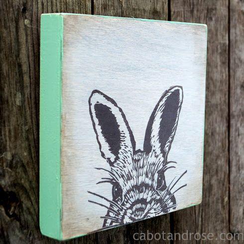 """Little Bunny"" Print on Wood"