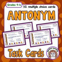 Antonym Task Cards: 32 FREE cards for practicing Antonyms - Grades 4-6Use these 32 multiple choice task cards to reinforce antonyms. A student answer sheet for students to record their answers is included along with an answer key for self-checking. There is also a Challenge Card that can be used in conjunction with any other card to extend the activity.