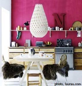 Magenta walls and huge pendant lampshade #bright #bold #interior #design
