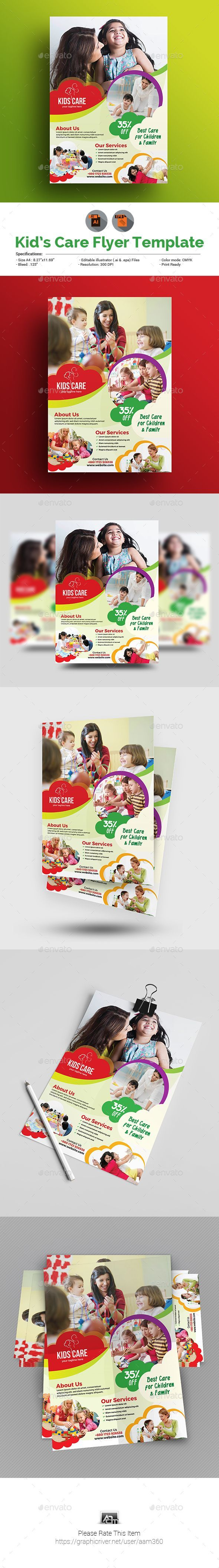 Child Care Flyer Template Vector EPS, AI Illustrator #ecohouseposter