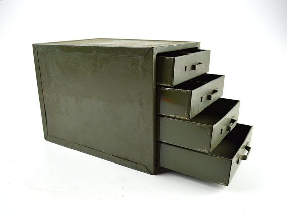 Vintage Industrial Tabletop Drawers ~ Army Green 4 Drawer Organizer ~ Industrial Decor