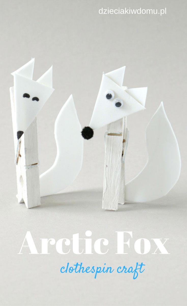 arctic fox clothespin craft