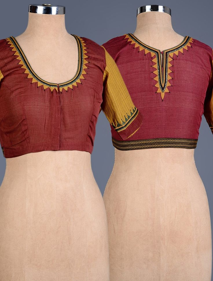 Buy Mustard Maroon Embroidered Cotton Blouse Apparel Tops & Dresses Simple Pleasures Hand Blouses Online at Jaypore.com