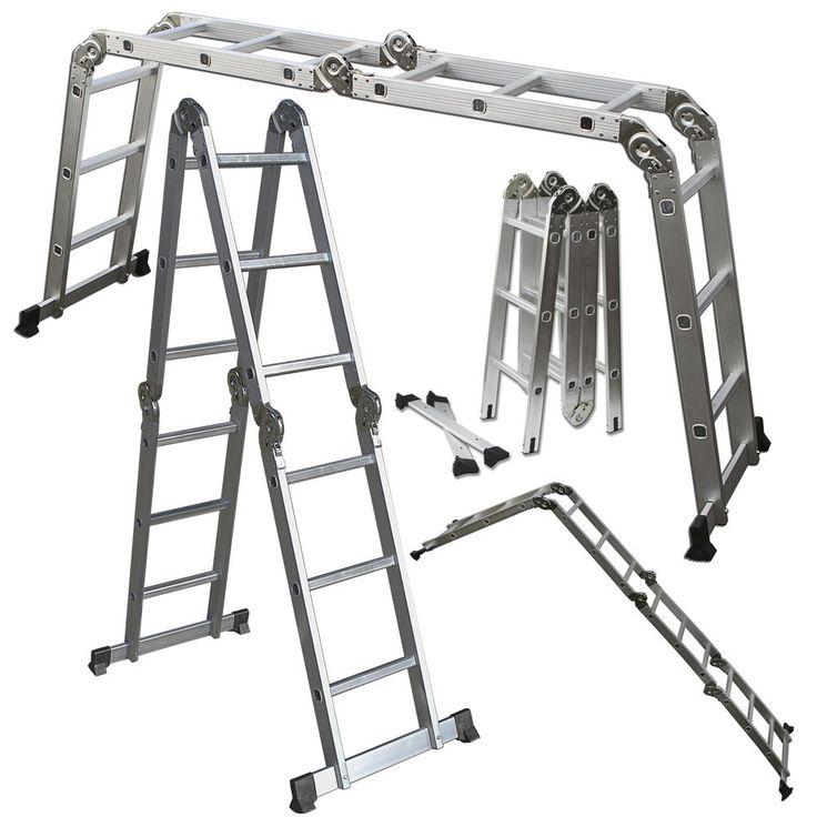 Scaffold Ladder Heavy Duty Giant Aluminum 12.5 ft Multi Purpose Fold Step Extend #OxGord