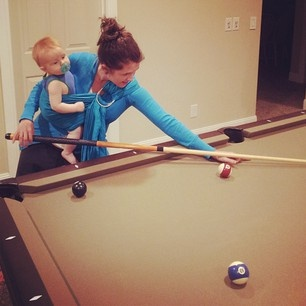 babywearing - carolee plays pool