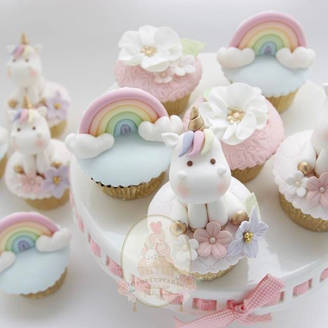 rainbow unicorn fondant cupcake toppers