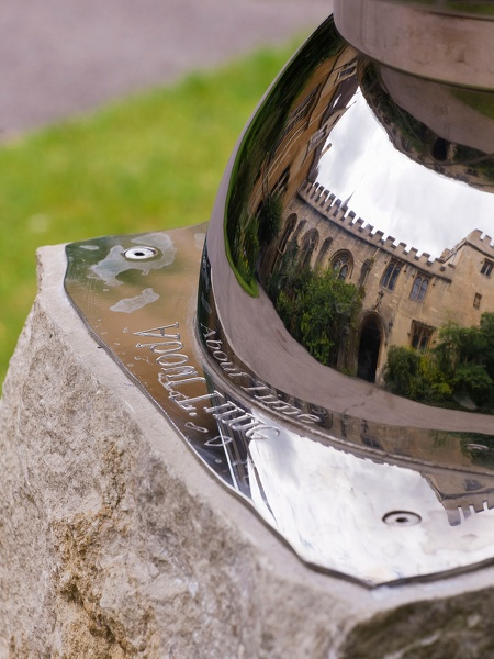 The engraving About Time was the winning entry in a competition amongst students for an appropriate phrase to celebrate the arrival of women undergraduates at Balliol College Oxford.