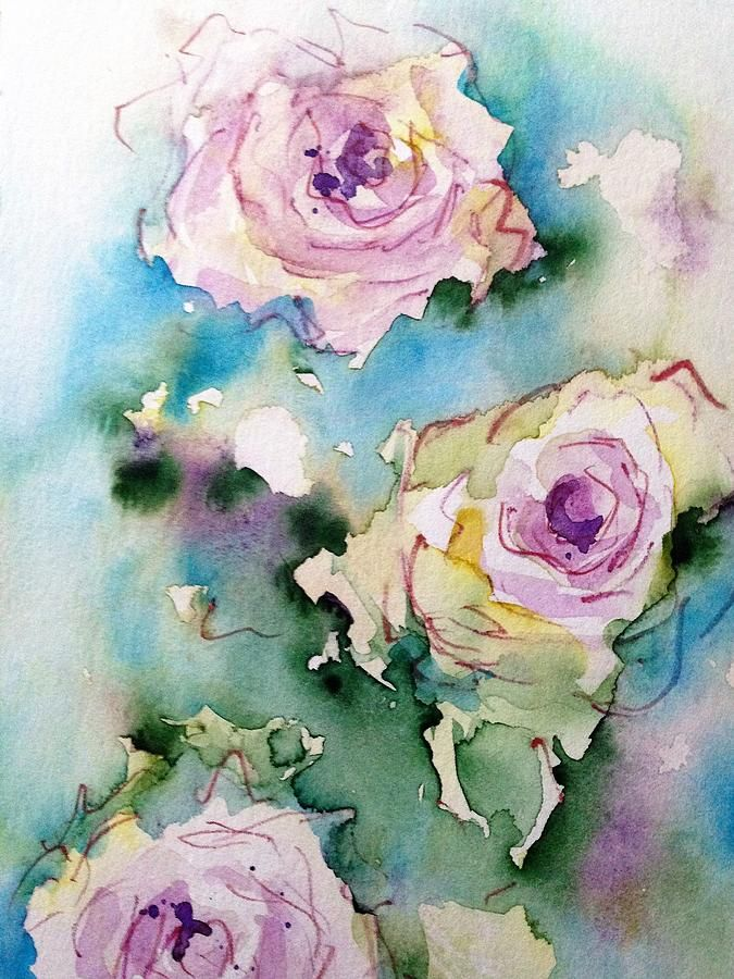Purple Roses Painting Three Purple Roses By Britta Zehm