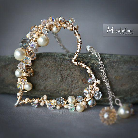 Cristal y perla incrustada esterlina alambre oro por Mayahelena