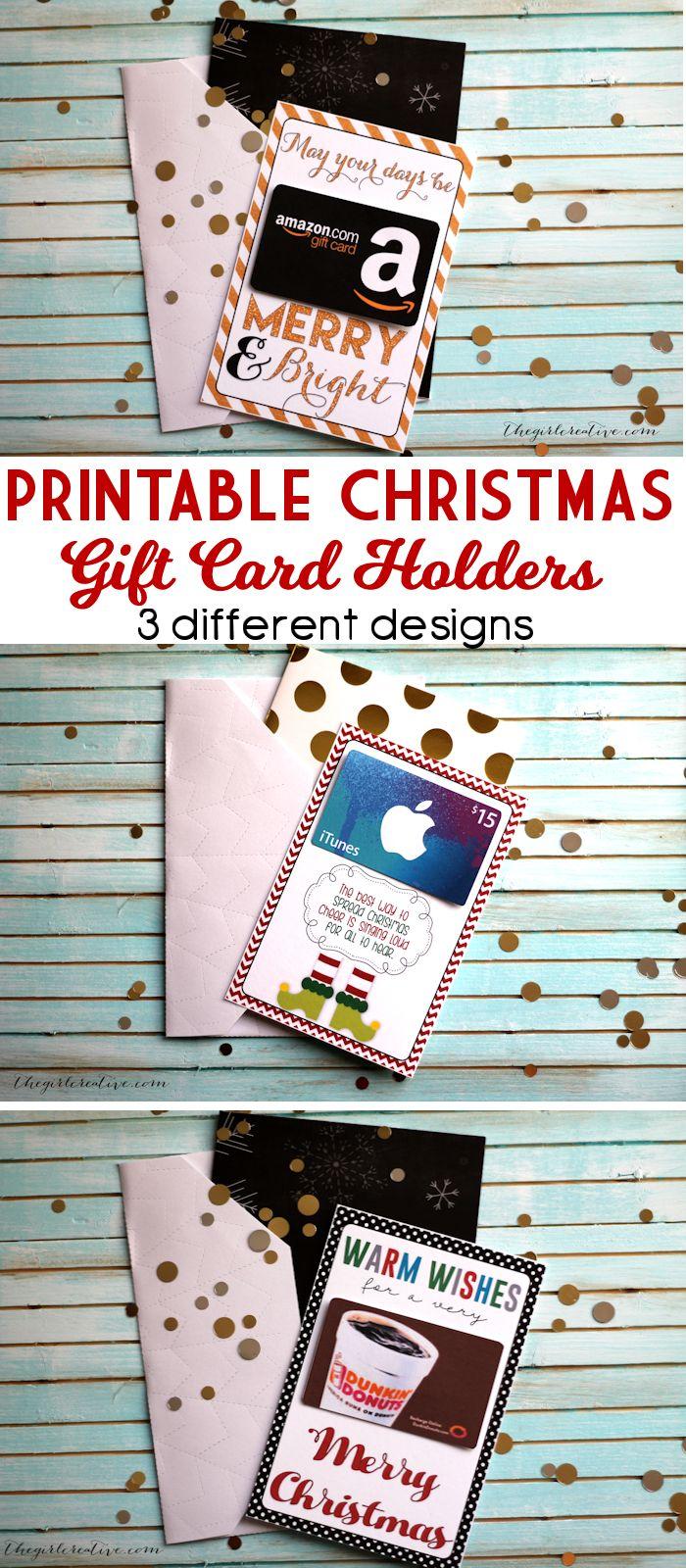 Free Printable Christmas Gift Card Holders- perfect for neighbor or teacher Christmas gifts