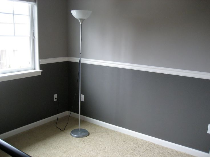 Walls in two shades of gray, with white chair rail, window ...
