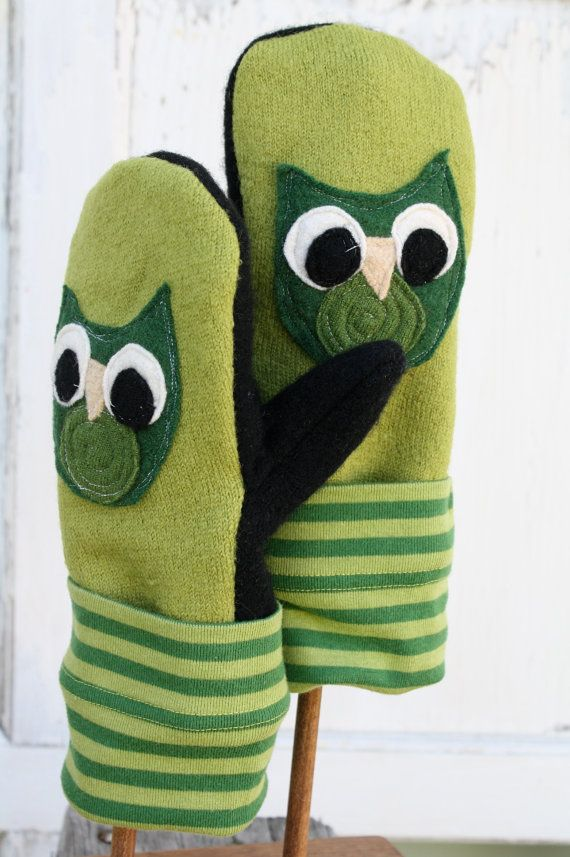 Upcycled Felted Wool Mittens Owl Party by whimsiedots on Etsy, $25.00