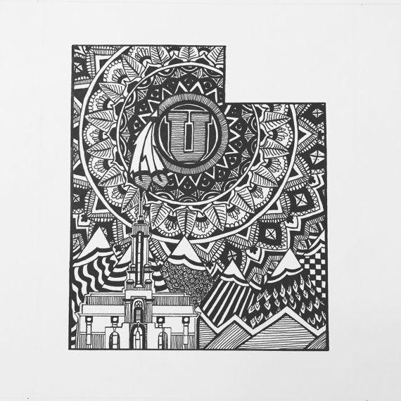 Custom Utah state art.  Hand drawn. Made to order. Pen and ink.  #zentangle #stateart #penandink #art #artwork #Utah #UofU #utahutes #mandala #timpanogostemple #lds #blackandwhite #illustration #drawing #wallart