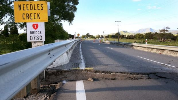 The Needles Bridge, just north of Ward, after Monday's earthquake.