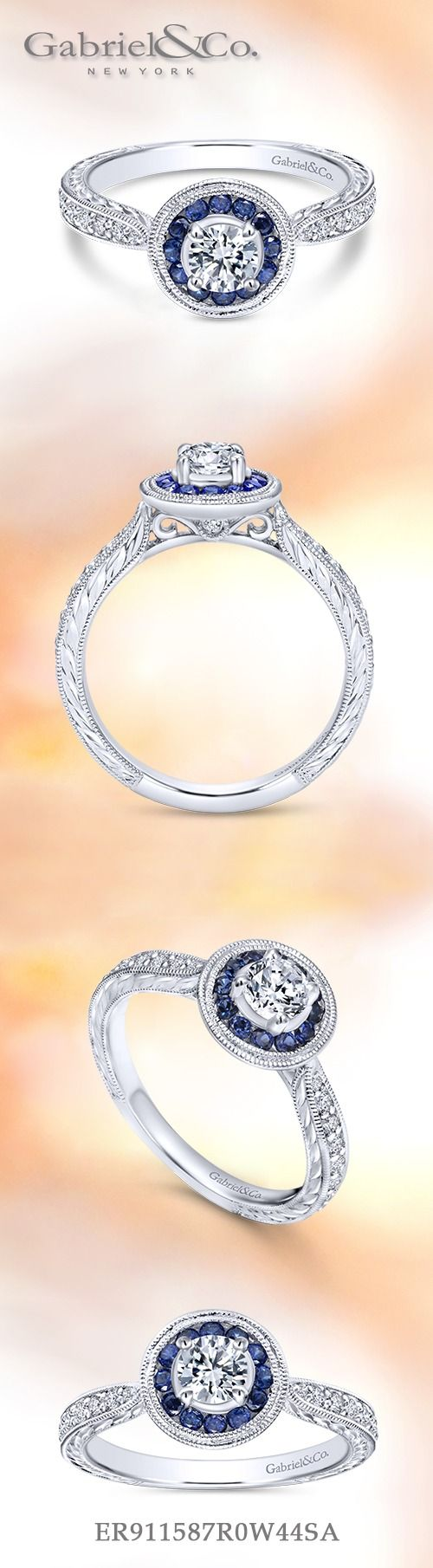 Gabriel NY - Voted #1 Most Preferred Fine Jewelry and Bridal Brand. Vintage 14k White Gold Round Halo  Engagement Ring