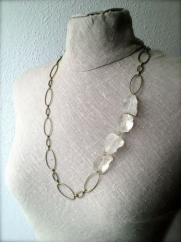 ROCK CRYSTAL & brass chain My Vintage Fantasy, handmade jewelry