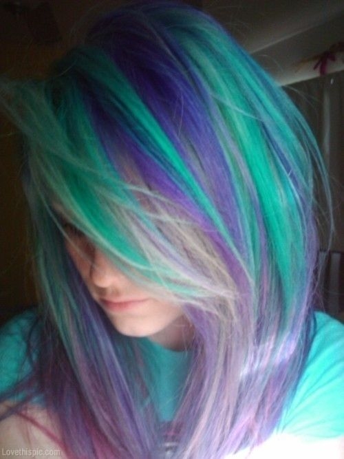 Purple & Teal Hair fashion hair colorful blue girl green rainbow pretty purple style turquoise teal dye trend