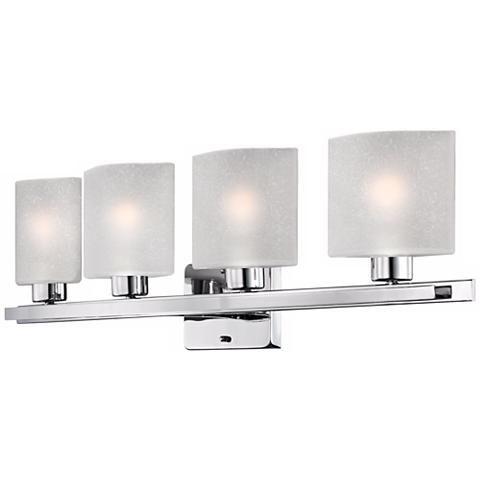 "Possini Euro White Linen Glass Chrome 32"" Wide Bath Light"