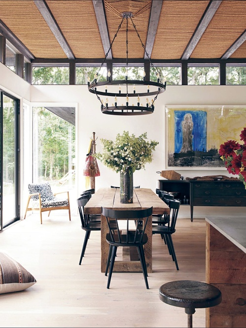Like the farmhouse table and the chairs, though not the chandelier.  Black chairs might look good if we went with a black mantle.