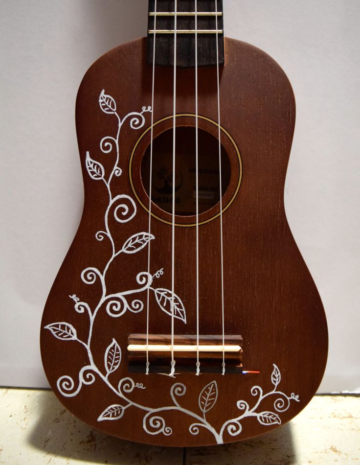 Soprano ukulele with hand-painted design: vines