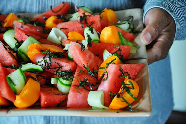 Watermelon and Apricot Salad with Sesame-Ginger Dressing by holajalapeno, via Flickr