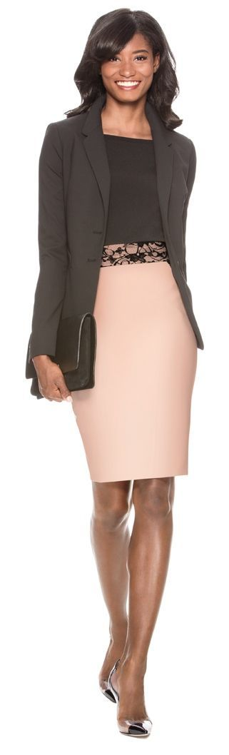 Refined Tastes - Collection Two-Button Jacket, Square Neck Sweater and Lace Inset Pencil Skirt from THELIMITED.com