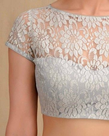 Flower Lace Silver Blouse- Buy Sari Blouses,Indian Essentials,Sari Blouses Online | Exclusively.in
