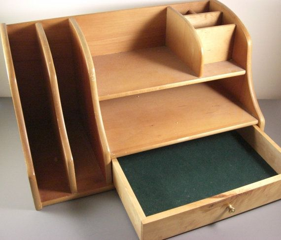 Wooden Desk Organizer with Cubbyholes & Drawer