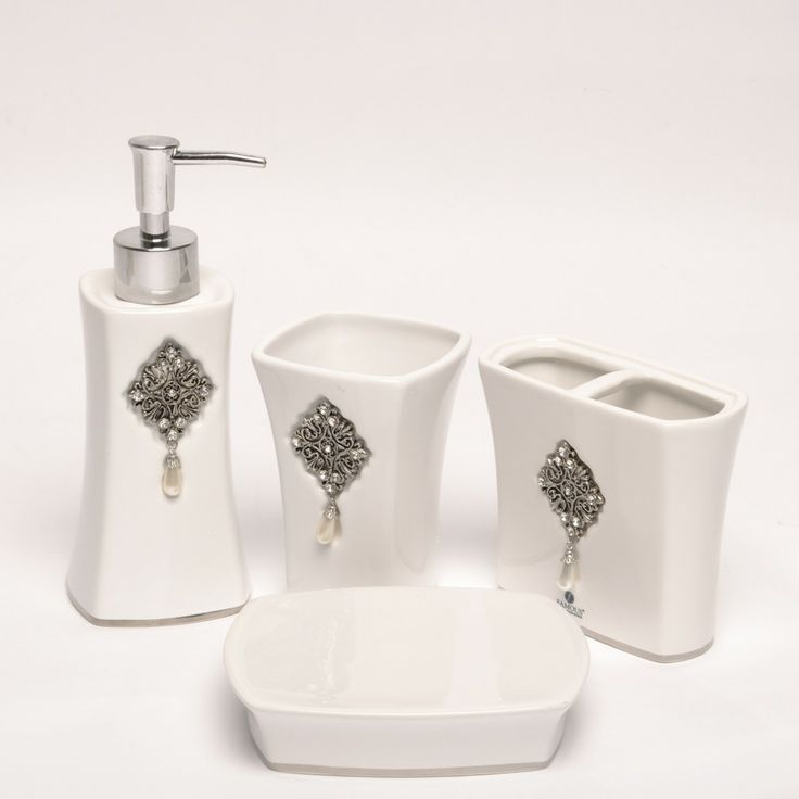simple modern bathroom accessories sets with white ceramic and small crystal - White Bathroom Accessories Ceramic