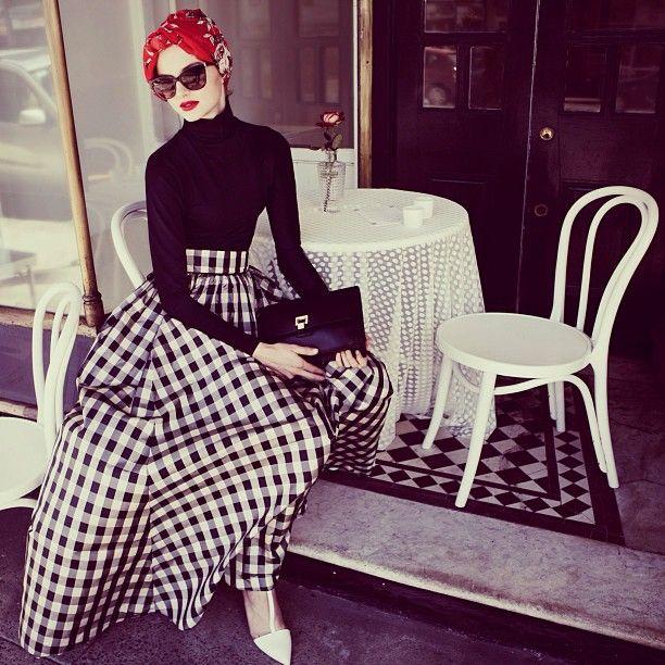 "large gingham prints are all over the Paris catwalks. #hijab #hijabfashion…"""