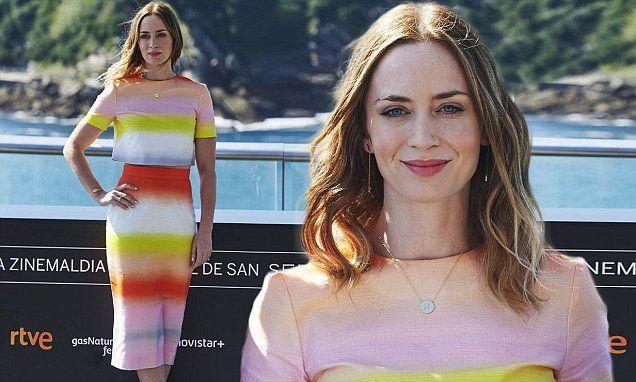 Emily Blunt teases her taut tummy at San Sebastian Film Festival