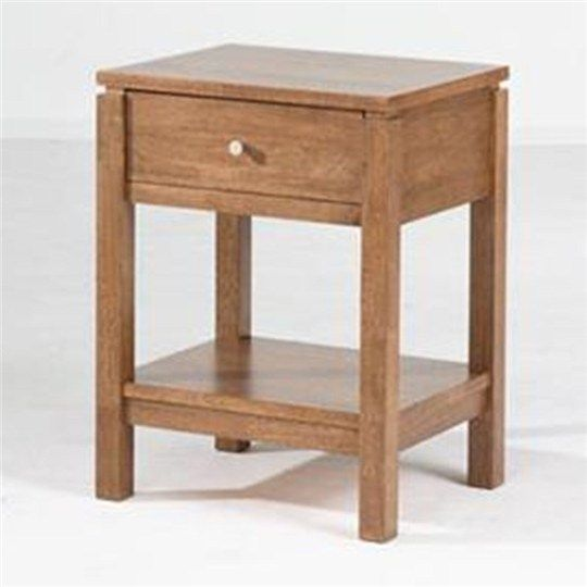 Braque Solid Rubberwood Timber Single Drawer Bedside Table  - Natural