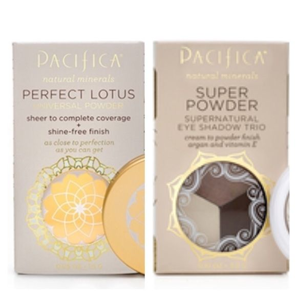 """Pacifica Powder / Eye Shadow Bundle NIB Pacifica Sheer Finish Powder in """"Natural"""" and Cream to Powder Eye Shadow in """"stone,"""" """"cold,"""" and """"fox""""!  I love these products because they are so compact and so perfect on the go.  No need for an applicator -- smooths right on with your fingers! Pacifica Makeup Eyeshadow"""