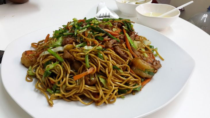 Homemade Chinese Fried Noodles Recipe Main Dishes with noodles, chinese chives, carrots, shredded cabbage, eggs, chicken, beansprouts, chopped garlic, fish sauce, dark soy sauce, oyster sauce, salt, sugar, pepper