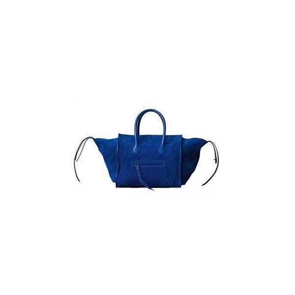 celine luggage phantom suede tote bag cobalt blue