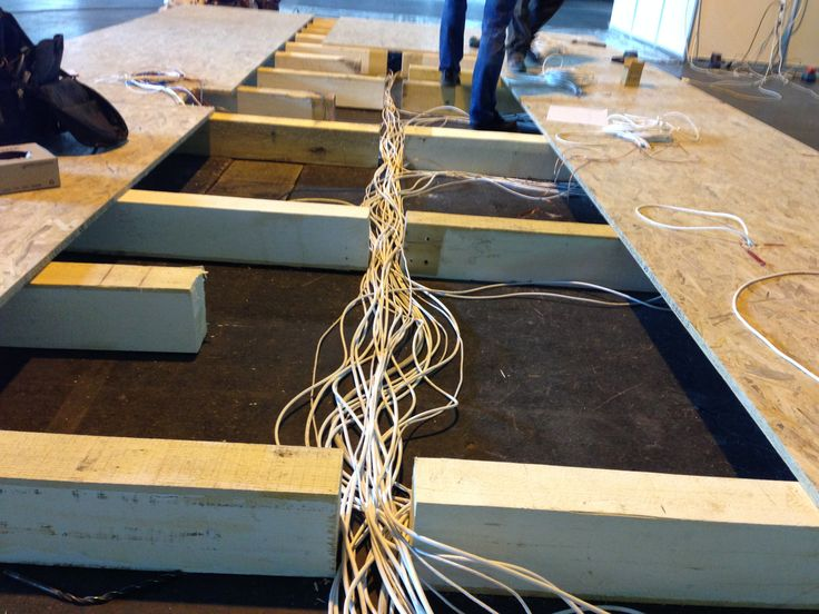 A standunkon a padlóban vezettük el a kábeleket.