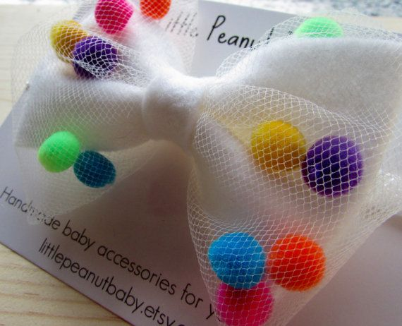 Felt Pompom Headband - white felt bow - rainbow pompoms - white tulle
