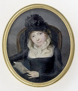 1794 mourning outfit, French Revolution period miniature portrait