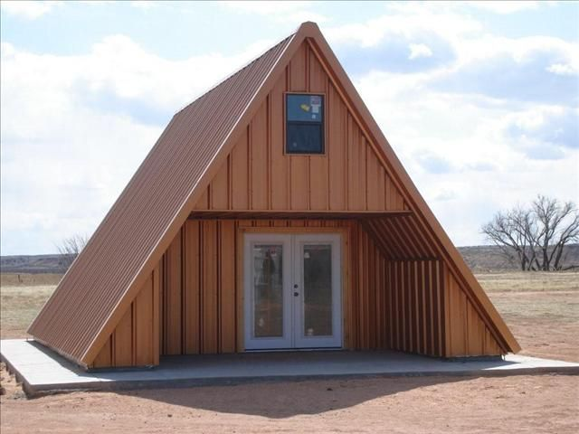 A Frame Cabin House W All Metal Roof Exterior A