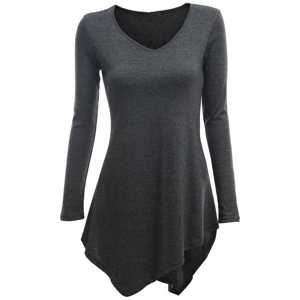 SheIn(sheinside) Grey V Neck Long Sleeve Asymmetrical T-Shirt ($12) ❤ liked on Polyvore featuring tops, t-shirts, shirts, long sleeves, grey, asymmetrical top, long sleeve grey t shirt, stretch t shirt, v-neck tops and gray long sleeve t shirt