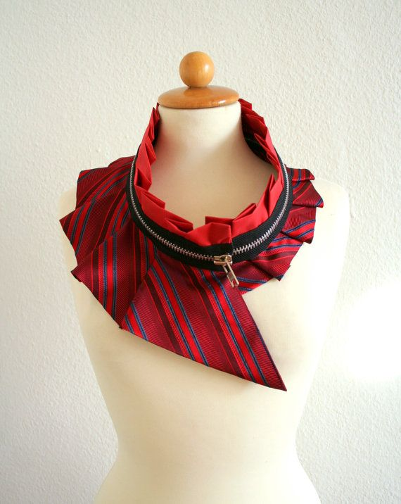 Funky collar necklace made from an old men's silk tie and zipper!!  Fab!