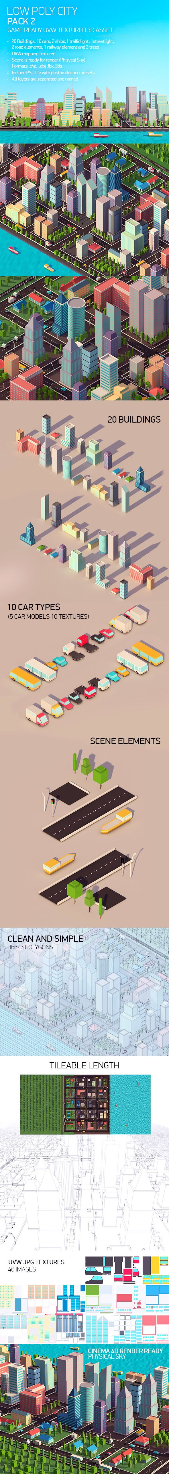 Low Poly City Pack 2 3D Models Design Template #cinema4d #3D #3dDesign Download here: https://3docean.net/item/low-poly-city-pack-2/14883512?ref=yinkira