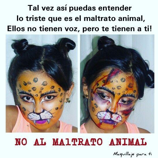 Junto con mi prima de 9 años enviamos este mensaje, los animales sienten así como los seres humanos es hora de hacer este mundo algo mejor #noalmaltratoanimal #noalmaltrato #porunmundomejor #animal #makeup #Maquillaje