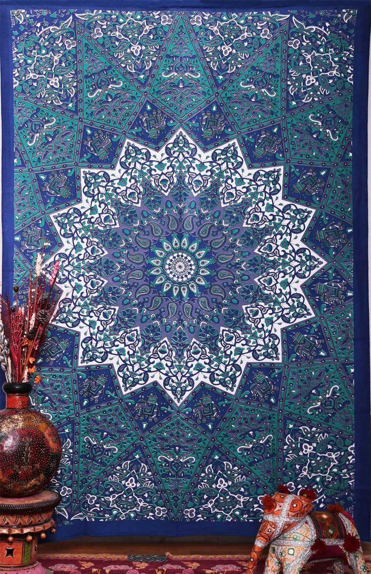 Twin Hippie Star Tapestries , Psychedelic Tapestry ,Sun and Moon Tapestry,star Mandala Tapestries, Throw Bedspread Queen Bed Dorm Decor