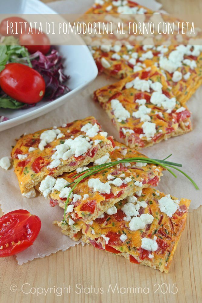 Frittata di pomodorini al forno con feta ricetta antipasto stuzzichino fingerfood secondo panino al sacco secondo con formaggi verdura vegetariano semplice ecnomico gustoso